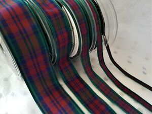 Berisfords Tartan ribbon Scottish Approved Designs -  LINDSEY - 7 10 16 25 40mm