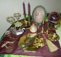 Wicca Altar Set Circe Scissor Dagger  Gazing Ball Brass Bell Snuffer M & P  MORE