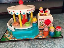 Fisher Price Little People Merry Go Round Rare Vintage Toy Wood Head Body