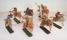 Elastolin / Lineol Masse Figuren Wildwest Cowboy Indianer Konvolut 7 Reiter #125