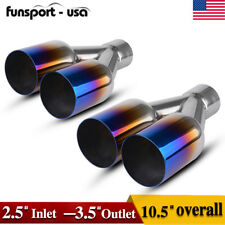 """2.5"""" Inlet 3.5"""" Dual Outlet Blue Burnt Exhaust Tip Round Cut 304 Stainless Steel"""