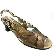 ARCHE Slingback Sandal Leather Bronze Open Toe Cut Out Heel Shoe 42 11