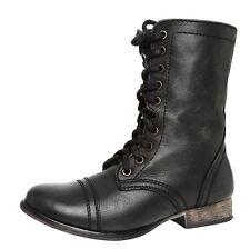 Steve Madden Troopa Leather Boot Black Women Sz 6.5 M 4017 *