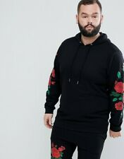 Asos Men's Size Large Black Rose Zip Up Track Jacket