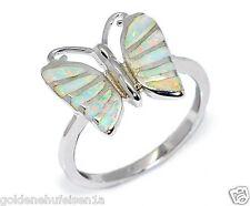 Schmetterlings Opal Ring 925 Silber + Weissgold Rhodiniert Geschenkidee