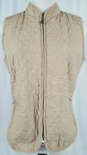 Talbots Women's Quilted Beige Vest  Zip Up Pockets Size Small