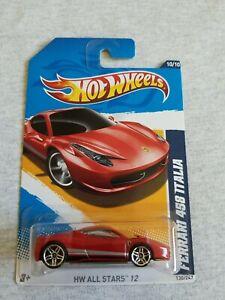 2012 Hot Wheels FERRARI 458 ITALIA Red 130/247 EXCELLENT CARD International