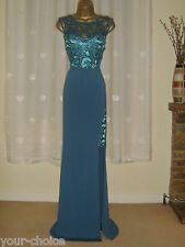 NEW FAB LACE SEQUIN MAXI EVENING PARTY DRESS SIZE 10 12