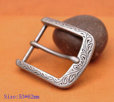 Flower Carved Antique Prong Pin Buckle Men Leather Belt Replacement Buckle 40mm