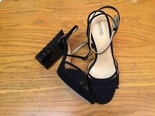 MICHAEL KORS BLACK SUEDE EMBELLISHED HEEL SHOES NEW SIZE 7