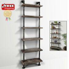 Industrial Look Wall Shelves Metal Pipe Wood Shelving Modern Decor Storage Shelf
