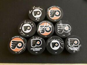 LOT of 9 VINTAGE HOCKEY PUCKS SIGNED PHILADELPHIA FLYERS 74-75 Stanley Cup Team