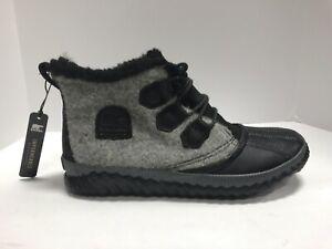 Sorel, Out N About Plus, Waterproof Black/Grey Booties, Women's Size 9.5 M