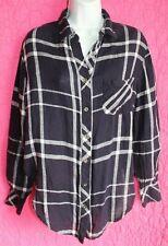 RAILS Navy Blue White Plaid Shirt Linen Rayon Long Sleeve Button Up Blouse Sz S