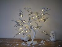 Pre-Lit Light Up LED Glitter Christmas Twig Tree Xmas Decor Rustic Silver Chic