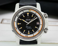 Enicar1443503 Vintage Sherpa Ultra Dive SS RARE ORANGE RING