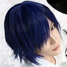 NEW Short Black and blue color mixing vocaloid kaito party cosplay wig