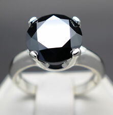 4.51cts 10.81mm Natural Black Diamond Ring, Certified AAA Grade & $2570 Value
