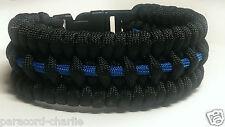 Thin Blue Line Men / Women Police Officer Trilobite Wide Weave Paracord Bracelet