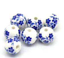 "30PCs Flower Pattern Round Ceramic Beads Retro 12mm( 4/8"")Dia.Jewelry Making"