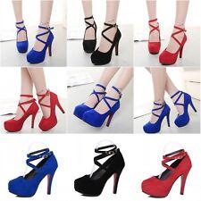 Fashion Women's Shoes Ankle Strap High Heels Shoes Wedding Platform Pumps Shoes~