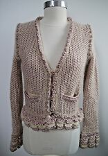 CHANEL beige rose metallic knit sweater jacket gold buttons size 36 WORN ONCE