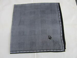"""USED BLUE LAID PATTERN COTTON 18""""  POCKET SQUARE HANDKERCHIEF HANKY FOR MEN"""
