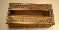 "Vintage Gold Tone, metal Tissue Box, w/Velvet Bottom,3"" high x 10"", one owner,EC"