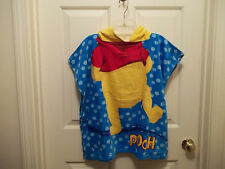 Kids Disney Winnie the Pooh Hooded Bath Beach Pool Poncho Towel Terry Bathrobe