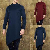 Men's Casual Solid Long Sleeve Indian Shirts Kaftan Tops Pullover Kurta Clothes