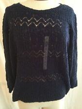 Jones New York Sport Open Knit Admiral Blue Women's Sweater Sz XL New! $59