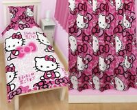 """Hello Kitty Bows Single Duvet and Matching 66 x 54"""" Curtains Set"""