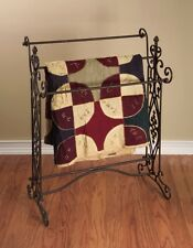 French Country Tuscan Brown Wrought Iron Quilt Blanket Bathroom Bath Towel Rack