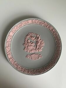 Wedgwood Jasperware Valentine's Day Plate 1985 Pink On Grey Jasper Ltd Edition