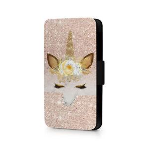 Gold Unicorn Design Phone Flip Case For iPhone - Huawei - Google