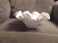 "Vintage White FENTON Milk Glass HOBNAIL Fluted Bowl 9.5"" Wide X 4"" Deep"