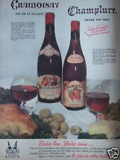 PUBLICITÉ 1958 CRAMOISAY CHAMPLURE GRAND VIN TUILÉ - ADVERTISING