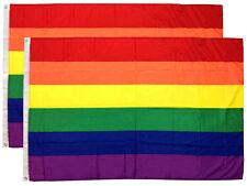 2 Pack - 3x5 Ft Rainbow Flag (Gay Pride Lesbian Lgbt Sign Flag) b