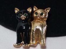 Gold 22K Swan Swarovski Crystal Black Enamel Double Cat Green Eyes Brooch Pin