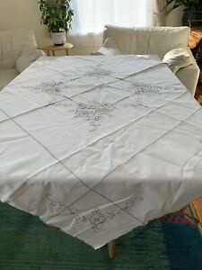 Embroidered Madeira Cut Tablecloth. 100cm Square