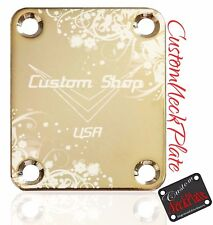 Gold Engraved Custom Shop Floral Guitar Neck Plate for Fender tele/strat/squier