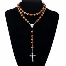 New Maria Jesus Cross Pendant Brown Pine Wooden Beads Chain Necklace Women Gift
