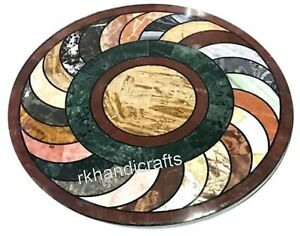 Round Marble Coffee Table Top Inlay with Multi Gemstones Sofa Table 24 Inches