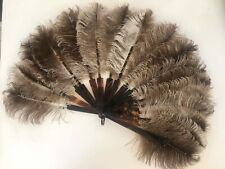 Antique Victorian Ostrich Feather Fan With Tortoise Shell Celluloid Stick Guards