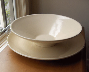 Catalina Island jumbo Conical console bowl and oversized rolled edge charger-NR