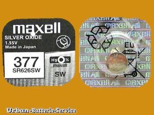 1 x Maxell 377 SR626SW SR66 1,55V Knopfzellen Silber-0xide UhrenBatterien
