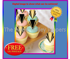 Gatsby Style Gold and Black Edible Rice Paper Birthday Cupcake Stand Up Toppers