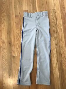 Boys New Baseball Pants - Size Youth Small - Gray With Royal Piping