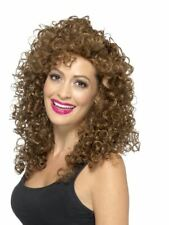 Boogie Babe Long Curly Permed Afro Brown Wig 60s 70s 80s Ladies Fancy Dress