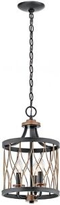Kichler Brookglen 9.75-in Black With Gold Tone Country Cottage Single Cage